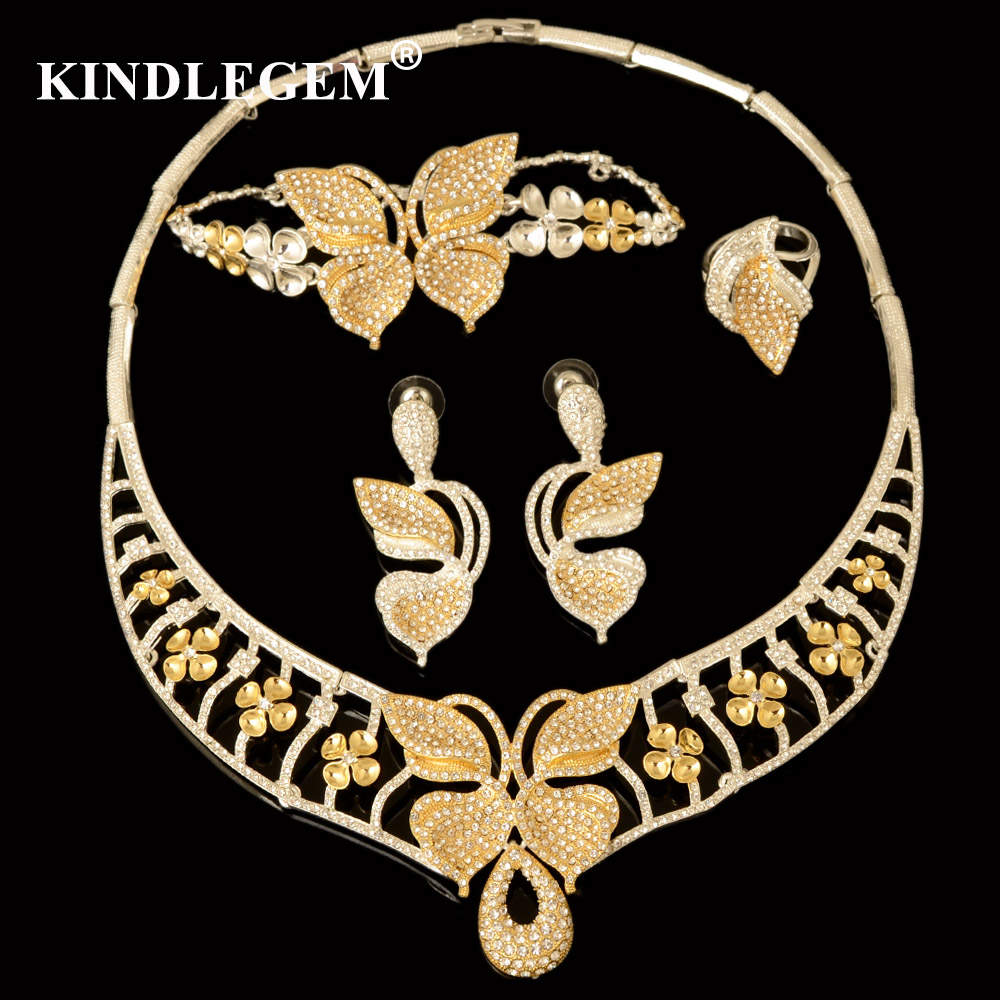 Kindlegem Luxury Parure Bijoux Femme Dubai Gold Silver Necklace Sets Fashion Indian African Beads Butterfly Jewellery For Women 2016 cross shape rhinestone hollow out silver plated jewellery sets stylish indian wholesale fashionable jewellery sets