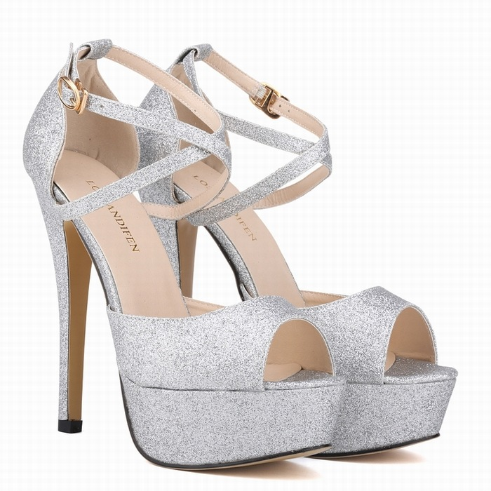 2016 Summer High Heels Sexy Peep Toe Platform Sandals Fashion golden Shoes Woman Wedding Shoes Female summer peep toe zapatos mujer sandals 15cm thin high heels platform sexy woman shoes wedding dance shoes