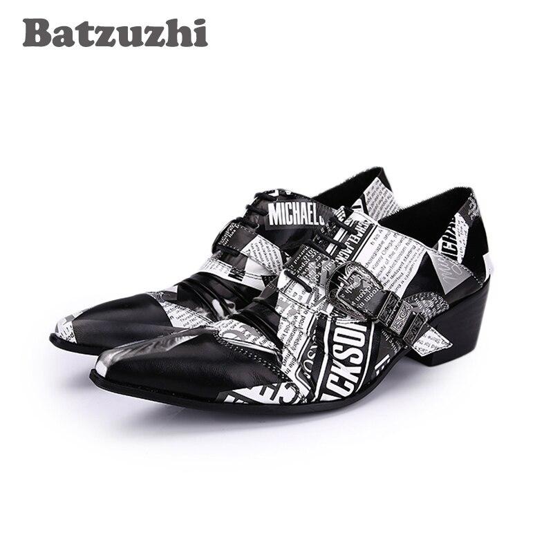 Batzuzhi 6,5 см Мужская обувь высокие каблуки личность бумага узор кожа обувь мужчины оксфорды острым носом свободного покроя Оксфорд Хомбре, 38-46
