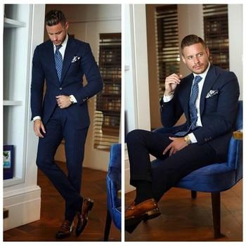 Custom Made Men Wedding Suits Navy Blue Peaked Lapel 2 Piece Stage Show Groom Tuxedo jacket Men Suits with Pants Slim Fit Blazer