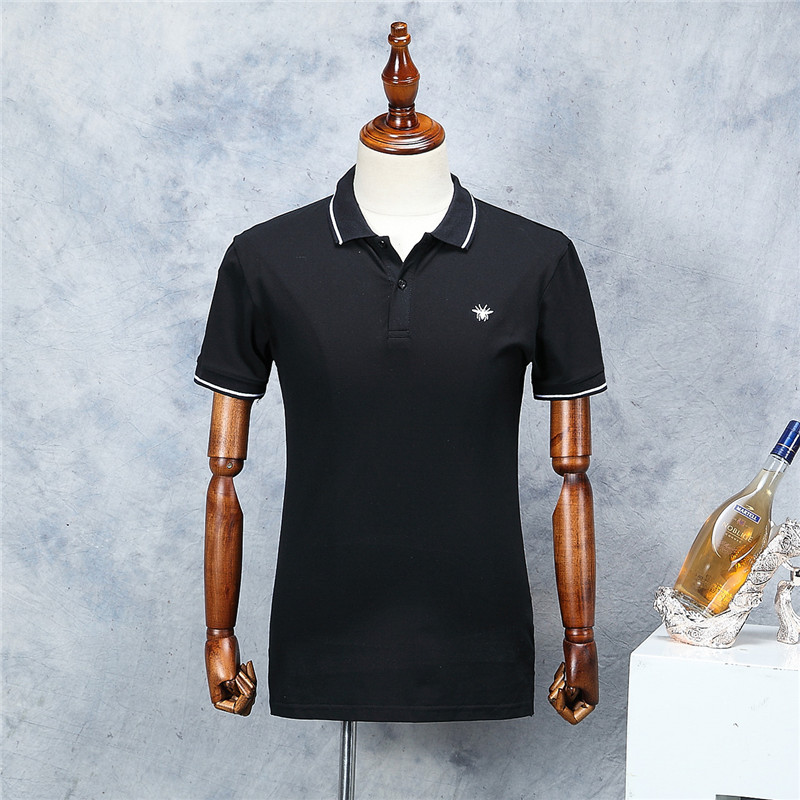 2018 New Arrival Men Bee Embroidery   Polo   Shirt Fashion Pattern Black Short Sleeve Summer Straight Cotton   Polos   Male High Quality