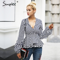 Simplee Ruffle V Neck Stripe Blouse Shirt Women Tops Casual Streetwear White Blouse Elegant Cotton 2017