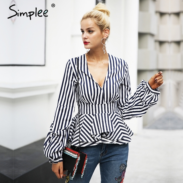 Simplee À Volants v neck stripe blouse chemise Femmes tops casual streetwear chemisier blanc Élégant coton 2017 automne blouse femme