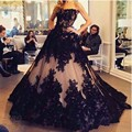vestido de noiva Exaggerate Black Lace Appliques Off The Shoulder Ball Gown Evening Dresses Nude Tulle Sexy Formal Gown Custom