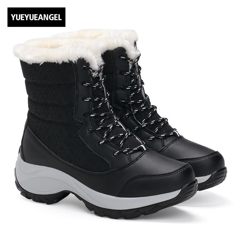 2018 New Fashion Warm Snow Boots Women England Style Round Toe Winter Fur Lining Faux Leather Lace Up Female Ankle Shoes Black