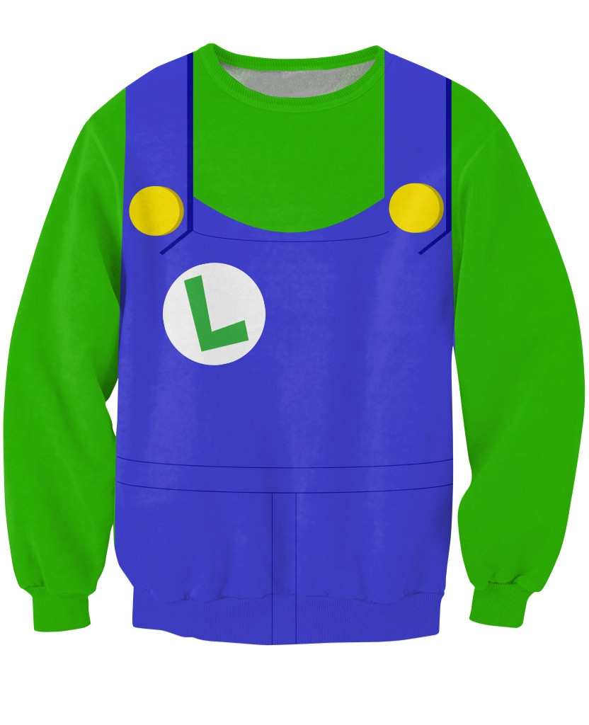 Luigi Crewneck Sweatshirt costume for Halloween Cosplay Party Sick Jumper Women Men Outfits 3d Print Sweats Casual Hoodies