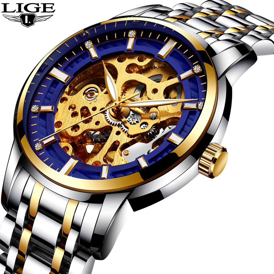 New 2018 LIGE Brand Watch Men Top Luxury Automatic Mechanical Watch Men Stainless Steel Clock Business Watches Relogio Masculino unique smooth case pocket watch mechanical automatic watches with pendant chain necklace men women gift relogio de bolso