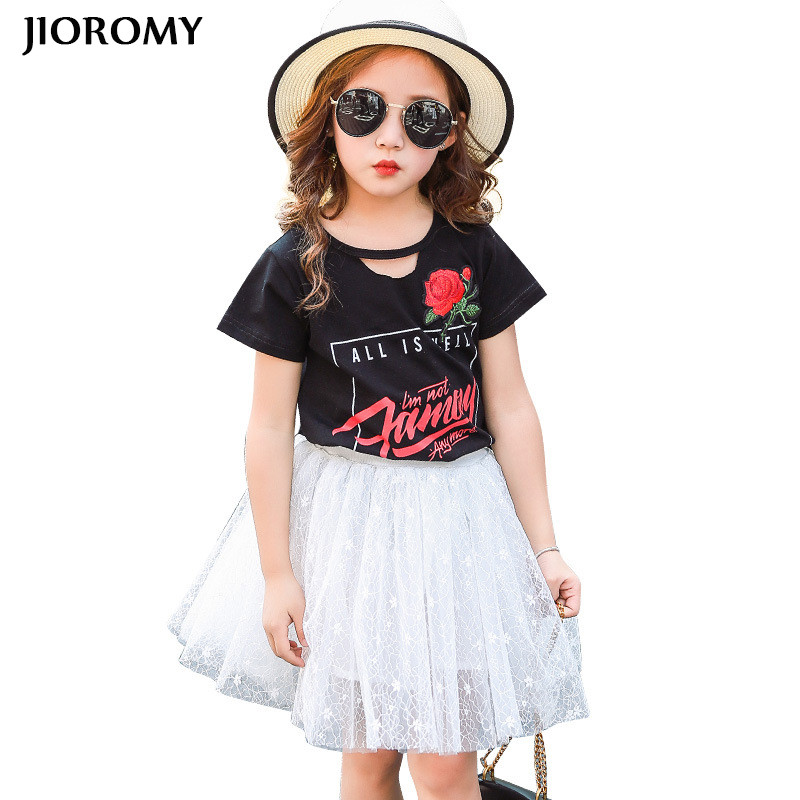 JIOROMY Big Girls Clothes Suit  2017 Sweet Virgin Short Sleeve Cotton T-shirt + Bud Silk Gauze Skirt Sets for Girls Clothing Set