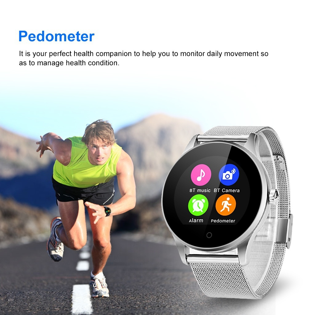 2018 K88H Stainless Steel Wristband Smart Watch Pedometer Heart Rate  Monitor Call/SMS Reminder Sleep Monitor for Smartpphones