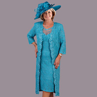 Elegant Blue Lace Knee Length Scoop Mother of the Bride Dresses Sheer with 3 4 Sleeves Long Jacket Short Evening Dress