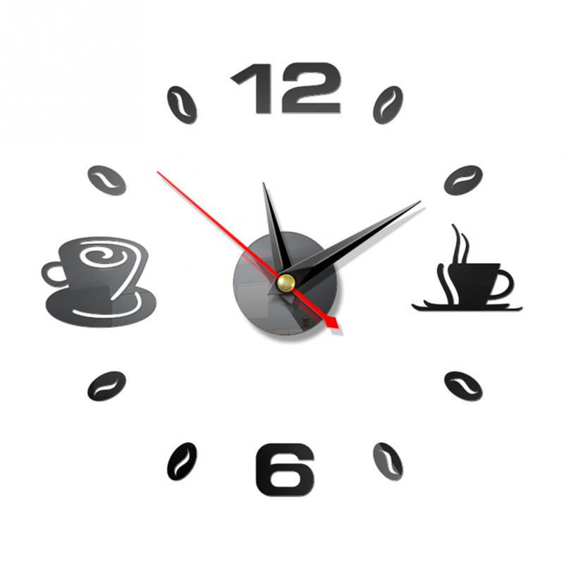 Wall Clock DIY Self Adhesive Home Modern Analog Acrylic Mirror Mute Waterproof Kitchen Coffee Cups Decor Art 3D