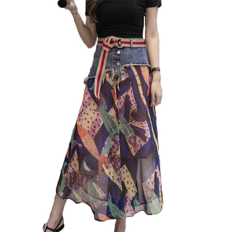 Denim Chiffon Print Skirt Summer Casual Boho Skirts Womens Vintage Beach Skirt Saia Midi Faldas Mujer Moda 2019 Flores F534