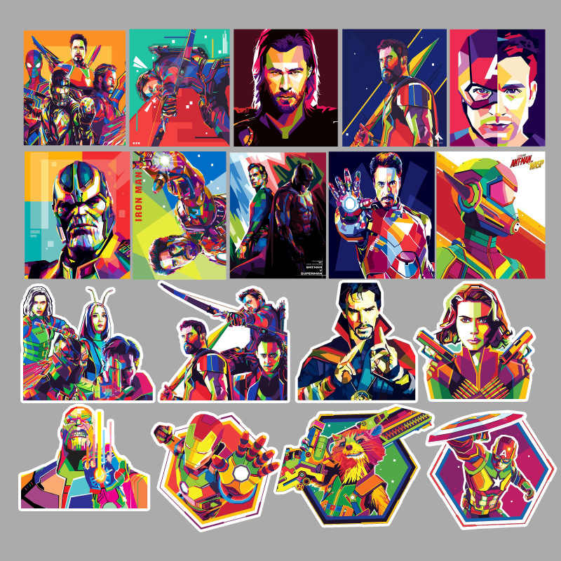 51 Pcs Warna-warni Super Hero Stiker Marvel Stiker Papan Luncur Bagasi Stiker Laptop Keren PVC Tahan Air Super Hero F5