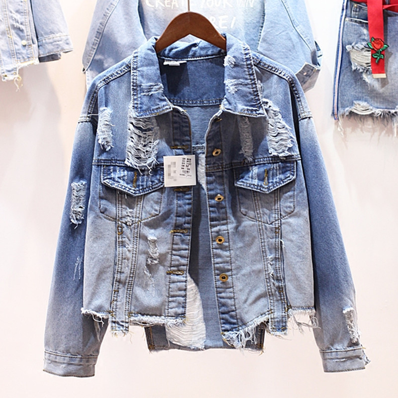 Women Jean Jacket Light Blue Bomber Denim Jakcets Casual Ripped Jeans Coat Long Sleeve Hole Loose