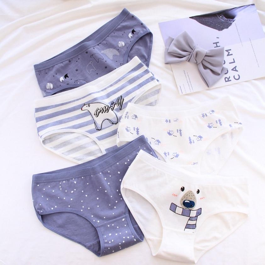 Women's   panties   Polar bear pattern cotton underwear gril briefs lingerie ladies underpants cartoon woman intimate female   panty