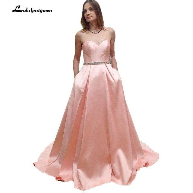 Sweetheart Sleeveless Pink Satin A Line Evening Dress Long Formal Evening  Gown with Pockets 75589e10aa8b