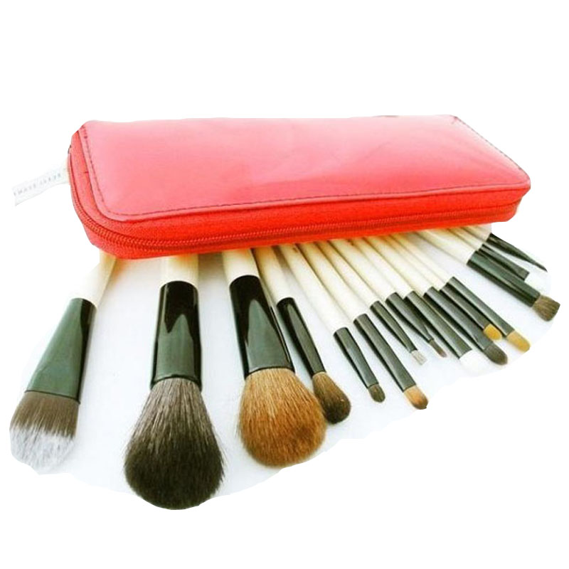 15 pcs/Sets BB 100% Goat Hair make up tools kit Cosmetic Beauty Makeup Brush Sets with Leather Case Free Shipping free shipping 15 pcs soft synthetic hair make up tools kit cosmetic beauty makeup brush black sets with leather case