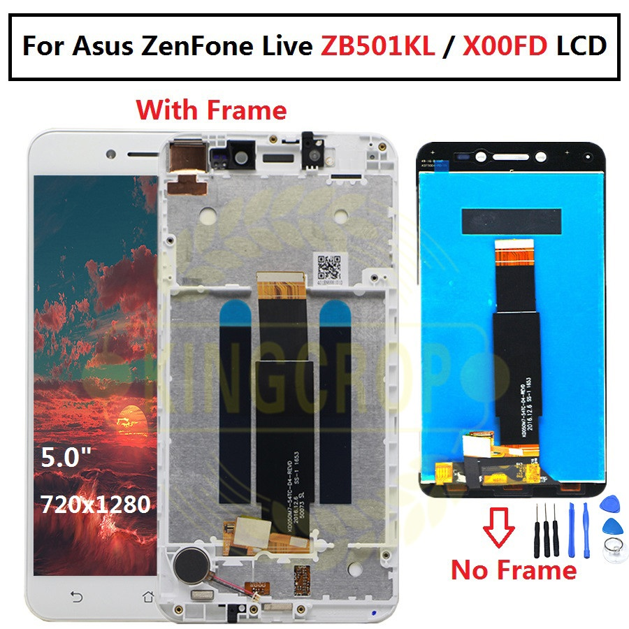 "For 5.0"" Asus ZenFone Live ZB501KL X00FD A007 LCD screen display with frame touch panel digitizer white/black free shippinglcd screen displaylcd digitizerlcd screen -"