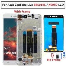 """Per 5.0 """"Asus ZenFone Live ZB501KL X00FD A007 display LCD con cornice touch panel digitizer bianco/nero spedizione gratuita"""