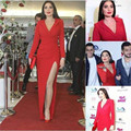 Long Sleeve Red Matte Satin Celebrity Dress Formal Evening Dress 2016 with Split