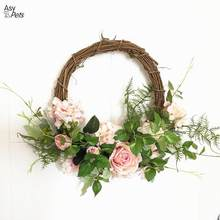 Simulation Rose Wreaths Floral Hoop Garland Wedding Decoration Household Wall Hanging Flowers-35(China)