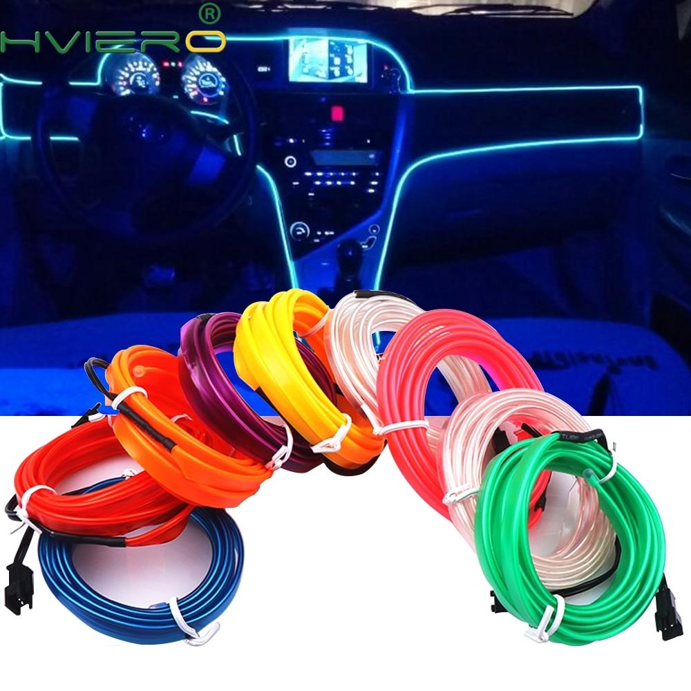 1M/2M/3M/5M Auto Interior Lighting Auto LED Strip Wire Rope Tube Line Flexible Neon Light With 12V USB Cigarette Drive