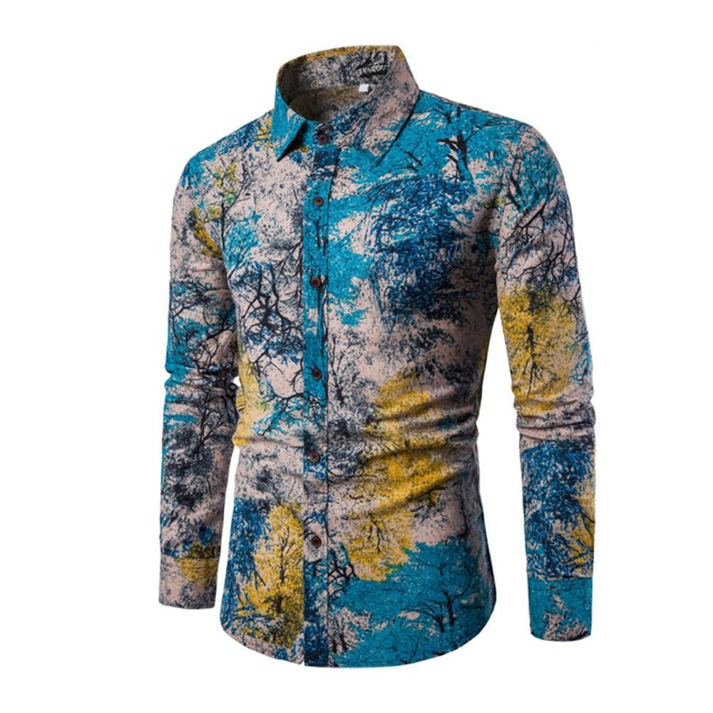 Moda Wiosna Jesień Casual Shirt Men Slim Fit Kwiat Pościel