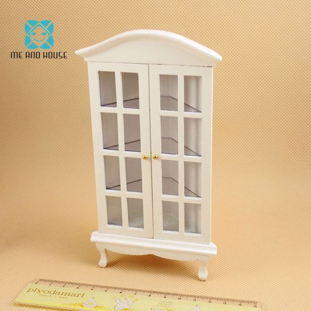 1:12 Doll House Miniature Wooden Mahogany/white Triangle Cabinet Showcase  Dollshouse Living Room