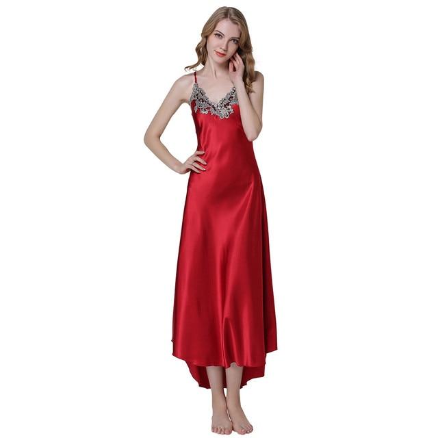 5c39527e59 Fashion Women s Sexy Embroidery Lace Floral Long Nightgown Satin Night  Dress Sleepwear Female Silk Dress Nighties Homewear Shirt