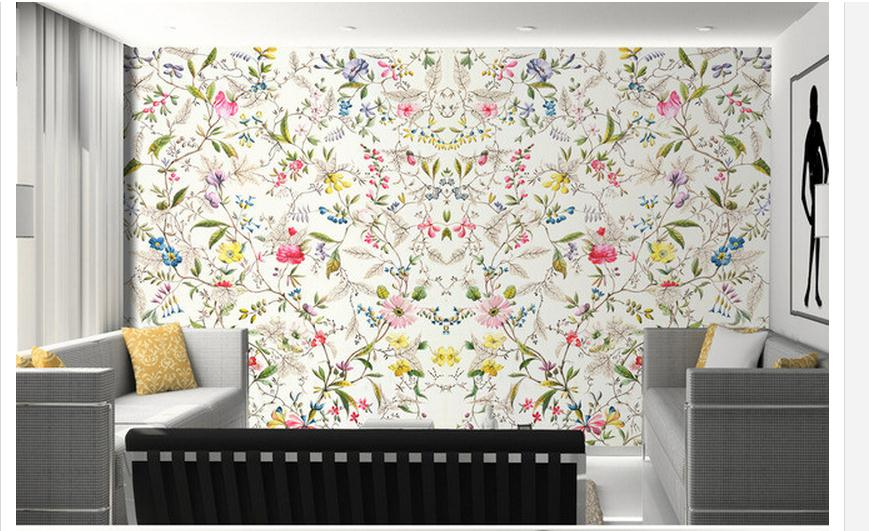 Customized 3d Wallpaper 3d Wall Mural Wallpaper Small Floral Pattern Hand-painted TV Background Wall Living Rome Photo Wallpaper
