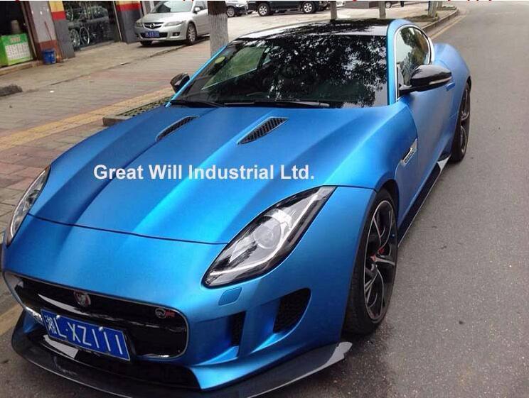 Ice Satin Хромовая виниловая пленка для обертывания воздуха, Матовый Металлик, хромированное покрытие для автомобиля, наклейка для автомобиля, фольга 1,52*20 м/рулон/5ftx67ft - Название цвета: Titanium Blue