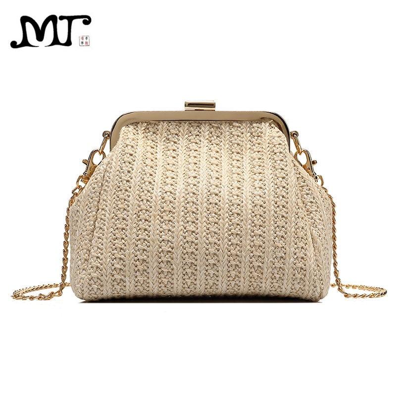 MJ Women Straw Bags Female Small Kiss Lock Woven Straw Messenger Bag Chain Crossbody Handbag Shoulder Bag for Teenage Girls palm tree pattern straw chain bag