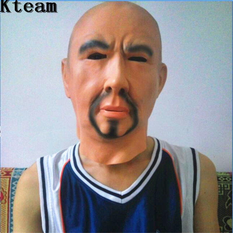 New Artificial Man Mask Hood Overhead Wigs beard Human Skin Disguise Prank Halloween makeup costume Realistic silicone Face Mask muñeco buffon