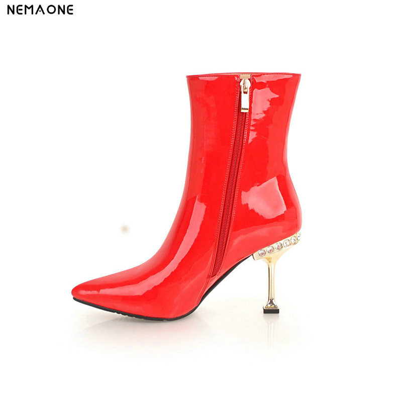 NEMAONE New patent leather women high heels ankle boots shiny bling winter warm dancing shoes woman party dress ladies shoes цена