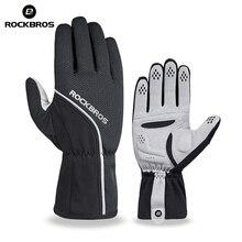 ROCKBROS Thermal Fleece Skiing ถุงมือนิ้วมือ Windproof Snowboard ถุงมือสกีกันน้ำถุงมือฤดูหนาวจักรยานถุงมือ