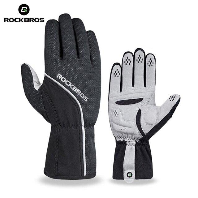 ROCKBROS теплые флисовые лыжные перчатки полный палец ветрозащитный сноуборд перчатки непромокаемые лыжные перчатки зимние велосипедные перчатки