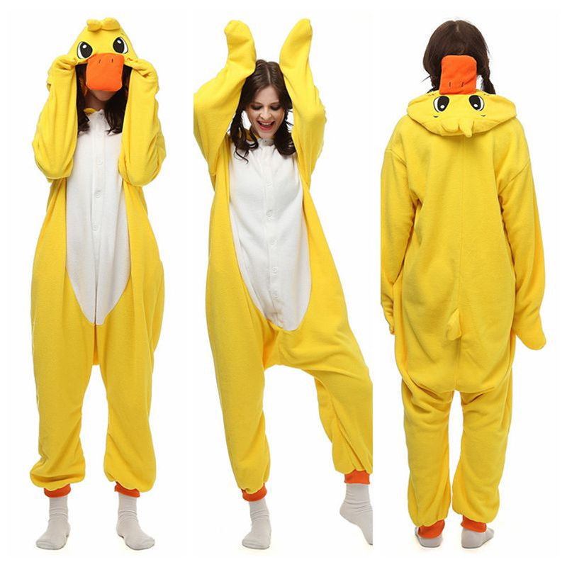 Anime Cartoon Kigurumi Unisex Adult Costume Jumpsuit Sleepwear Yellow Duck Pajamas Halloween Cosplay Pyjamas Christmas Gift