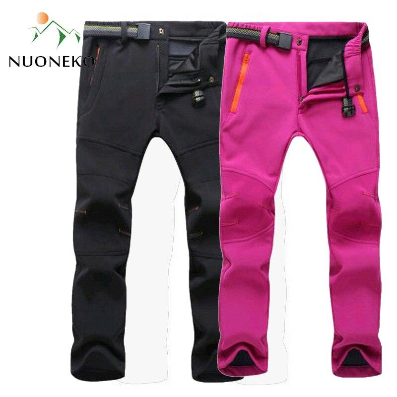 NUONEKO 2019 New Women Men Fleece Softshell Pants Camping Hiking Outdoor Fishing Skiing Trousers Waterproof Windproof PM23