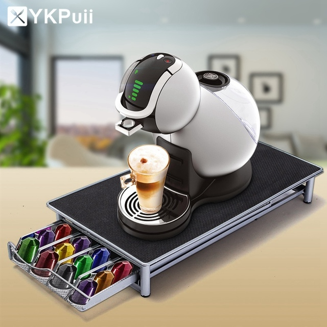 Beautiful Stainless Steel 36 Cups Nespresso Coffee Capsules Pod Holder Storage Stand  Rack Drawers Coffee Capsules Shelves