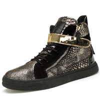 Gold Snake Pattern High Top Hip Hop Shoes Men Silver Black Fashion Flat PU Leather Shoes Footwear Tenis Masculino Adulto T030715