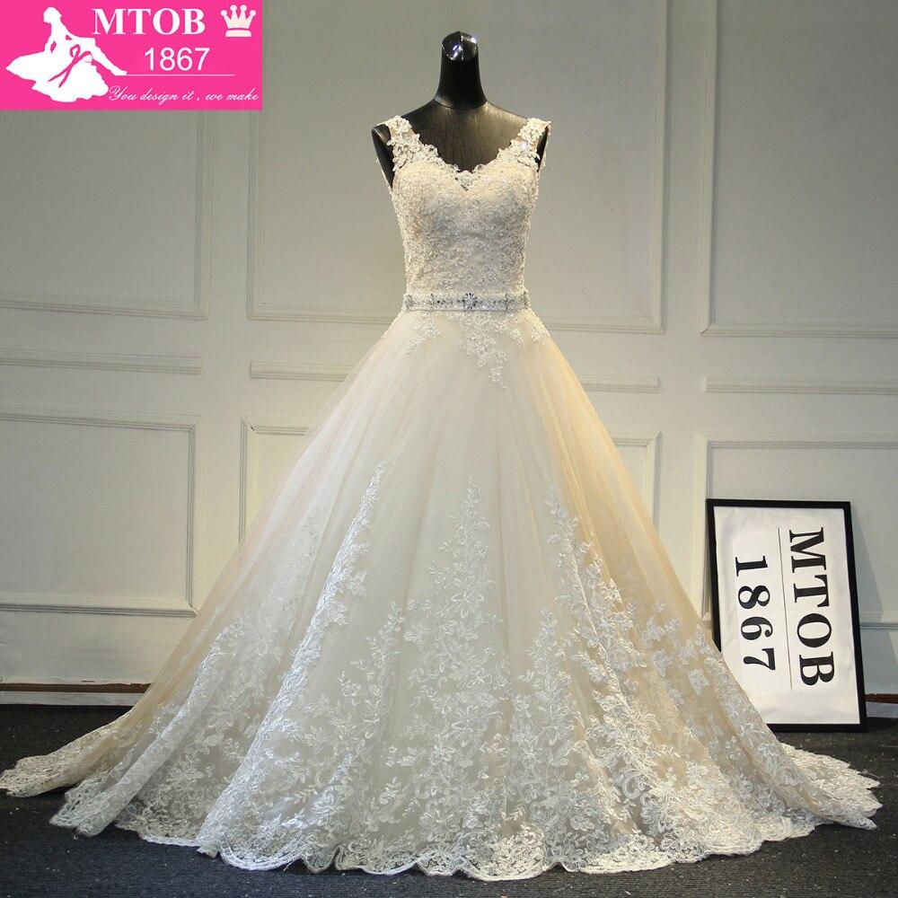 New Design A Line Lace Wedding Dresses 2019 V Neck Beaded Sash Backless Sexy Vintage Wedding