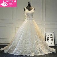 New Design A Linha Lace Vestidos de Casamento 2017 Com Decote Em V Frisada Sash Backless Sexy Vintage Vestidos de Casamento Loja Online China MTOB1729