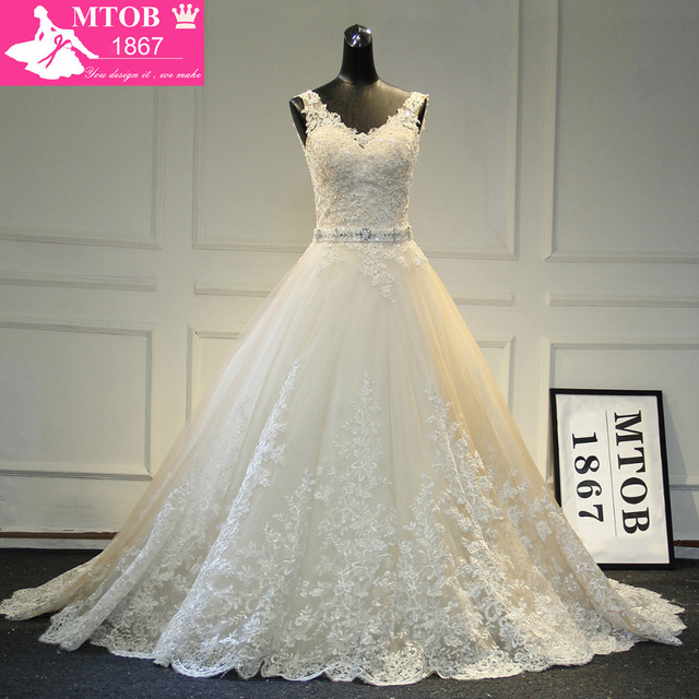 New Design A Line Lace Wedding Dresses 2017 V Neck Beaded Sash Backless Y