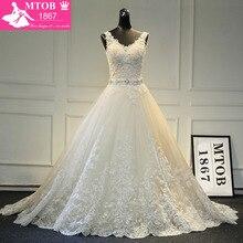 Thiết Kế mới A Line Lace Wedding Dresses 2019 V Cổ Đính Cườm Sash Backless Sexy Vintage Wedding Gowns Trung Quốc Cửa Hàng Trực Tuyến MTOB1729