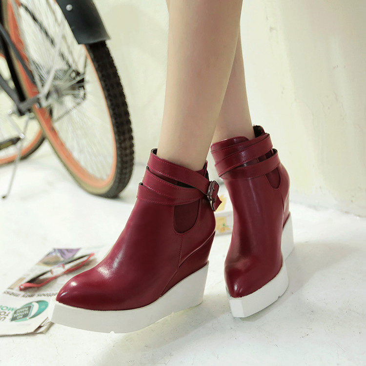 GOXPACER 2018 New Autumn And Winter Women Boots Wedge Shoes Fashion Women Shoes High Heels Vintage Women Leather Shoes