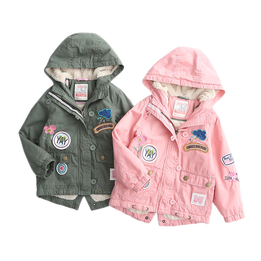 Winter girls jackets 2017 New casual Applique cloud smile letter cotton padded Hooded thermal coats for children girl outwear smile cloud led wall lamp