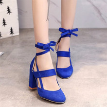 Plus Size 34-43 Female Ankle Strap High Heels Flock Gladiator Shoes Woman Thick Heel Fashion Women Party Wedding Pumps newst high heel shoes sky blue velvet ankle strap woman dress shoes crystal embellished wedding heels thick heels pumps