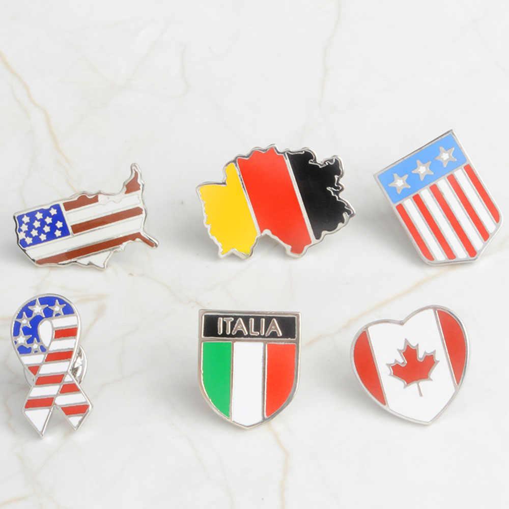 1 Pcs 6 Countrys Bendera Nasional Ename Kerah Pin Logam Kanada Amerika Bahasa Jerman Bendera Italia Bros Hadiah Lencana Bros