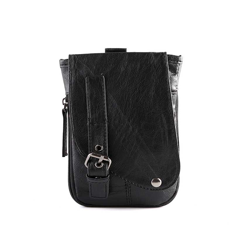 PU Men's Large Capacity Design Short Travel Messenger Bag Casual One Shoulder Mobile Wallet Small Square Bag Retro Style