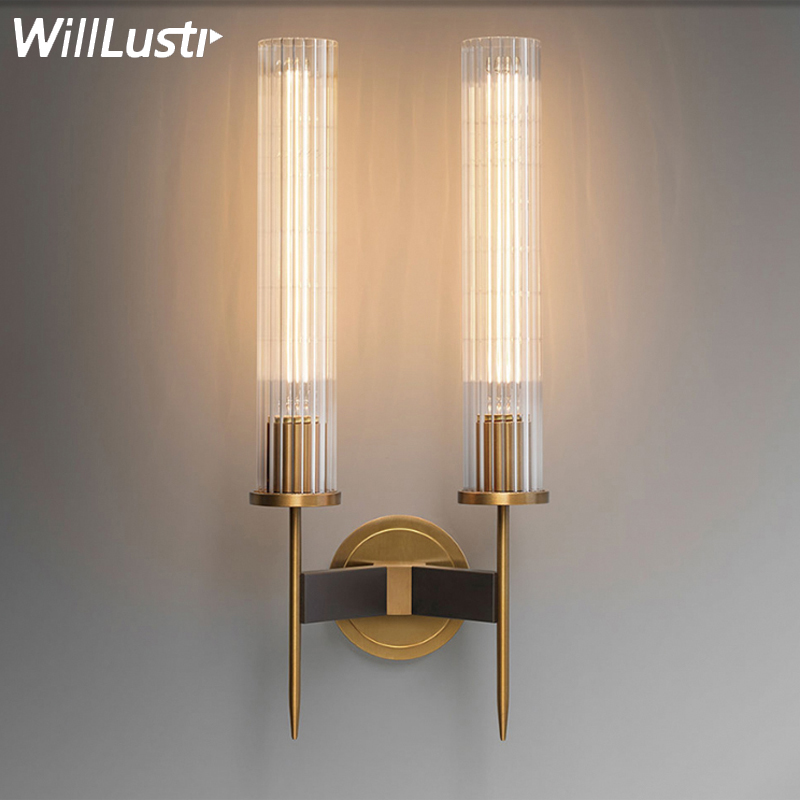 LED modern brass wall lamp sconce ribbed glass vintage retro copper bedroom bedside hotel restaurant loft RH mirror wall light